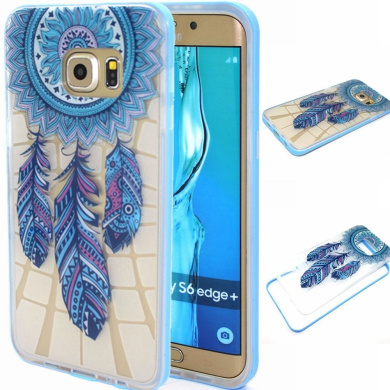 BLT Galaxy S6 Edge Plus case, [ Hard Clear Back and Soft TPU Edges] Case, Blue Dream-catcher Cover for Samsung Galaxy S6 Edge Plus, Screen Protector and Dust-absorber as Gift