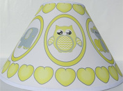 Grey and Yellow Baby Safari Lamp Shade with Elephants, Owl, Zebra, Giraffe, Hippo, Lion and Monkey Nursery Decor