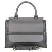 BELUCIA IZANO TOP HANDLE BAG CALFSKIN LEATHER BICOLOR GREY, $4.49 Shipping