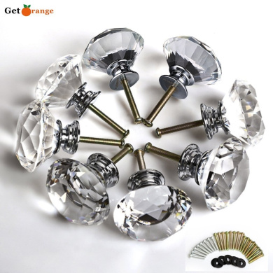 Get Orange®8 Pcs 40mm Diamond Crystal Glass Alloy Door Drawer Cabinet Wardrobe Pull Handle Knobs -with 3 kinds of Screws