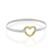 WithLoveSilver Sterling Silver 925 Open Heart Catch Bangle Bracelet, 20cm
