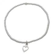 Silverly Women's .925 Sterling Silver Flat Open Love Heart Charm Elastic Stretch Adjustable Ball Bracelet