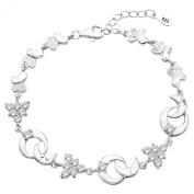 EleQueen 925 Sterling Silver CZ Moon Star Christmas Tree Tennis Bracelet Rhodium Plated, 17cm +3.3cm Extender