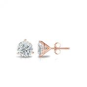 14k Rose Gold Round Diamond Stud Earrings 3-Prong