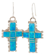 Navajo Native American Handcrafted Created Opal and Sterling Silver Cross Earrings