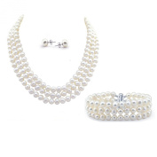 """3-row White A Grade Freshwater Cultured Pearl Necklace (6.5-7.5mm), 16.5"""", 17""""/18"""" and Bracelet 7.5"""" and Earring Sets"""