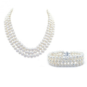 """3-row White A Grade Freshwater Cultured Pearl Necklace (6.5-7.5mm), 16.5"""", 17""""/18"""" and Bracelet 7.5"""" Sets"""