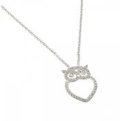 Sterling Silver Necklace w/ CZ Stones Open Heart Shape OWL Pendant