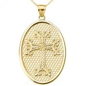 10k Yellow Gold Armenian Cross Oval Pendant Necklace