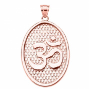 Hindu Yoga 10k Rose Gold Om/Aum Oval Pendant