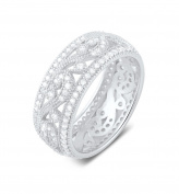 Sterling Silver 8mm Wide Dome Ring with Micro Pave Simulated Diamond -