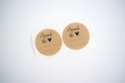 Once Upon Supplies 6.4cm Spread the Love with Heart & Two Lines Round Mason Jar Labels, 36 Pcs