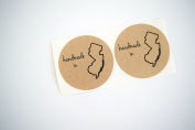 Once Upon Supplies 6.4cm Handmade in New Jersey State Shape Round Mason Jar Labels, 36 Pcs