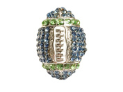Sports Novelties Team Coloured Football Shaped Rhinestone Bling Ring with Stretchy Band, One Size, Blue/Green