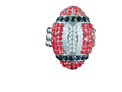 Sports Novelties Team Coloured Football Shaped Rhinestone Bling Ring with Stretchy Band, One Size, Red/Black