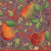 Entertaining with Caspari Luncheon Napkins, Decorated Pears Aubergine, Pack of 20