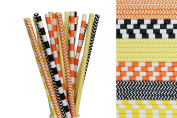 Orange, Black and Yellow Paper Straw Mix - Striped, Chevron