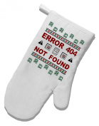 TooLoud Ugly Christmas Error 404 Not Found White Printed Fabric Oven Mitt