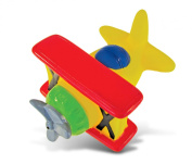 Puzzled Bi Plane Rubber Squirter Bath Buddy Bath Toy - Air Planes \ Aircrafts Collection - 7.6cm - Affordable High Quality Gift For Your Little One - Item #2788