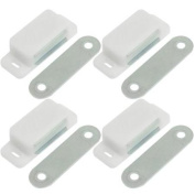 4 Pcs Cabinet Cupboard Door Magnetic White Silver Tone Latch Catch