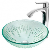 Vigo Icicles Glass Circular Vessel Bathroom Sink with Faucet