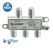 ACLgiants, (3 PACK) F-Pin Coaxial Splitter, 4 Way