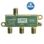 ACLgiants, (3 PACK) F-pin Coaxial Splitter, 3 Way, 1 GHz 90 dB
