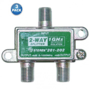 ACLgiants, (3 PACK) F-pin Coaxial Splitter, 2 way, 1 GHz 90 dB