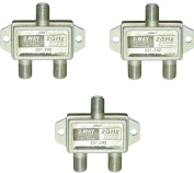 ACLgiants, (3 PACK) 2-Way F-Pin Splitter 2 GHZ DC Passive