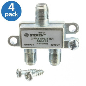 ACLgiants, (4 PACK) F-pin Coaxial Splitter, 2 Way