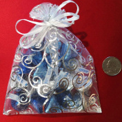 Crafts Organza Gift Bags |10 Bags, White with Silver Details, Size 15cm x 11cm