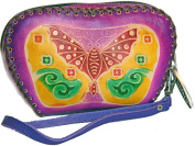 Purple Leather Embossed Butterfly Change Purse - Coin Purse with Wrist Strap