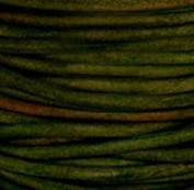 """#408 Natural Dark Green Round Leather Cord 3mm (1/8"""") x 10 metres"""