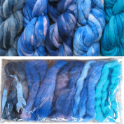 Living Dreams Blues Colour Sampler, Hand Dyed Felting Wool Roving Fibre for Needle -, Soap - and Wet Felting, 5 Colours
