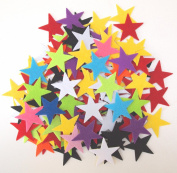 100 pc Mixed Colour Assortment 3.8cm Sticky Back Felt Stars