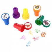Animal Stamps, LUCKYBIRD Best Self Inking Plastic Fun Stamps Set, 6 Count