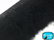 Feathers, Turkey Feathers - Black Marabou Turkey Fluff Feather Fringe Trim - 1 Yard