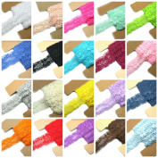 Lace Fabric JLIKA 20 Yards Stretch Elastic - 2.5cm Wide - Soft Trim Lace for Headbands Garters Variety Pack Mix Colours Grab Bag As pictured - 20 Colours 1 Yard Each