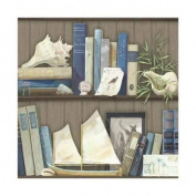 York Wallcoverings NY4890 Wallpaper Nautical Living : Coastal Library Home Decor ;Earth Brown, Shades Of Blue, Cream