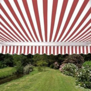 Waterproof Aleko Red and White Fabric For Retractable Patio Awning, 4m x 3m