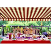 Waterproof Aleko Multistripe Red Fabric For Retractable Patio Awning, 4m x 3m