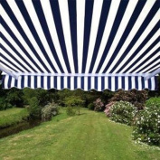 Aleko Retractable Patio Awning 10' x 8' (3m x 2.5m) Blue and White Stripes