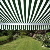 Waterproof Aleko Green and White Fabric For Retractable Patio Awning, 4m x 3m