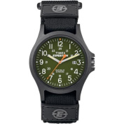Timex Men's Expedition Acadia Green/Black Watch, Black Fast Wrap hook and loop Strap