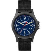 Timex Men's Expedition Acadia Blue/Black Watch, Black Fabric Strap