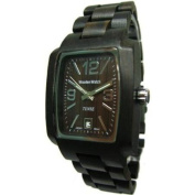 Tense Men's Black Sandalwood Rectangular Hypoallergenic Wood Wooden Watch J8102D