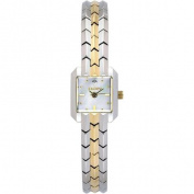 Elgin Women's Two-Tone Square Case White Mother of Pearl Dial Polished Bracelet Watch