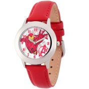 Marvel Spider-Man Boys' Stainless Steel Watch, Red Leather Strap