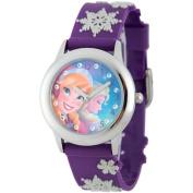 Disney Frozen Anna & Elsa Girls' Stainless Steel Glitz Case Watch, Purple 3D Plastic Strap