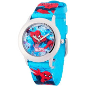 Marvel Spider-Man Boys' Stainless Steel Watch, Printed Fabric Strap